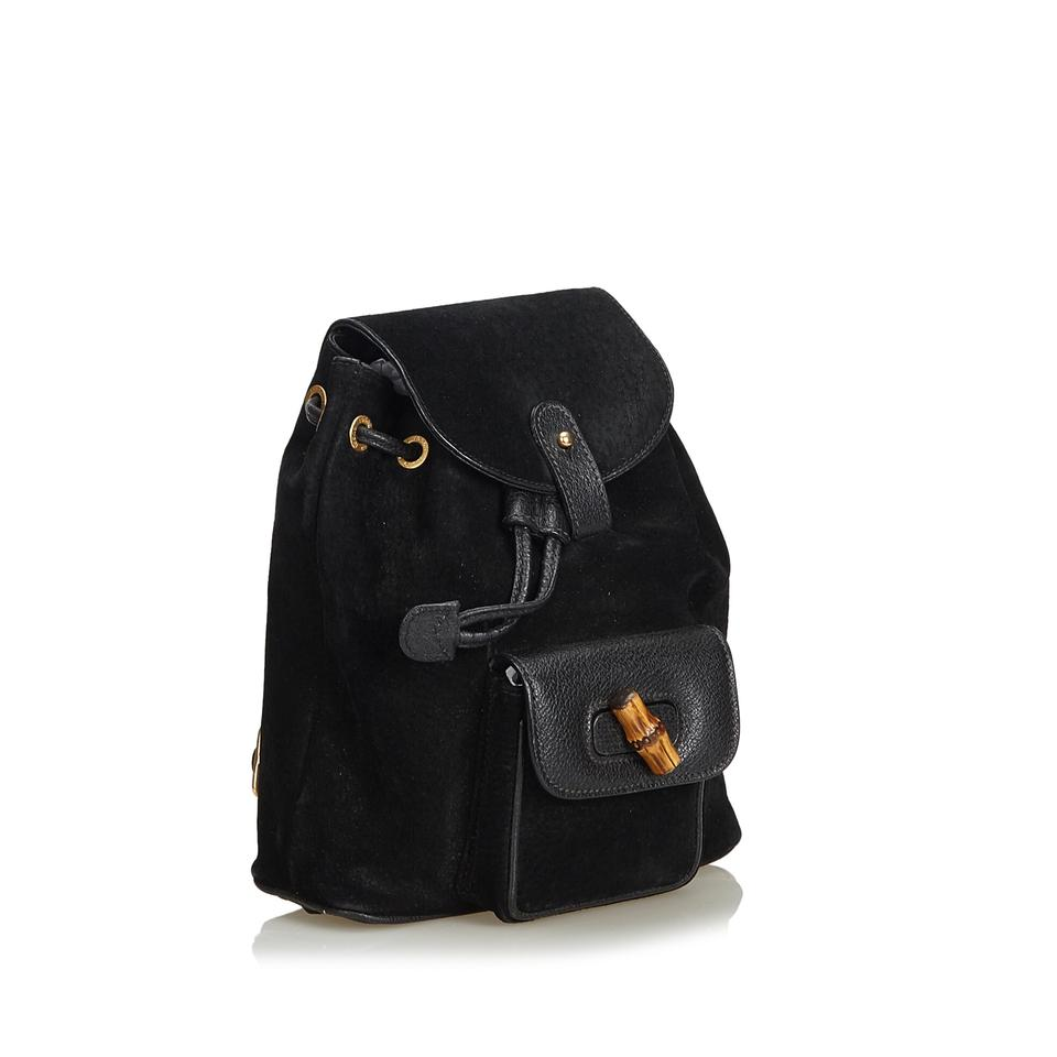 96a47185915 Gucci Bamboo Black Nubuck Leather Backpack - Tradesy