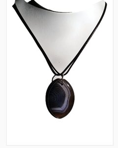 Fashion Jewelry For Everyone Purple Dragon Veins Agate Olivary with Leather Cord Pendant Necklace