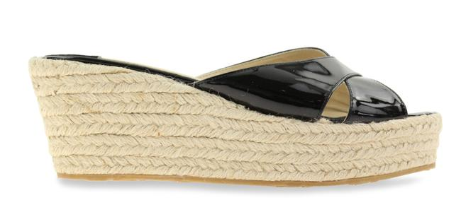 Item - Black Patent Leather and Jute Flats Size US 9 Regular (M, B)
