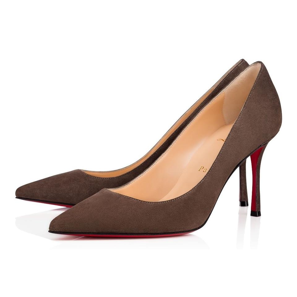 brand new 42242 d1542 Christian Louboutin Grey Decoltish 85 Roche Suede Classic Pointed Toe  Stiletto Heel Pumps Size EU 37 (Approx. US 7) Regular (M, B)