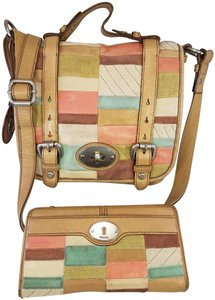 Fossil Maddox Reissued Purse And Clutch Matching Set Satchel in Light Gold/beige