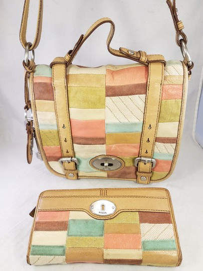 Fossil Maddox Reissued Purse And Clutch Matching Set Satchel in Light Gold/beige Image 1