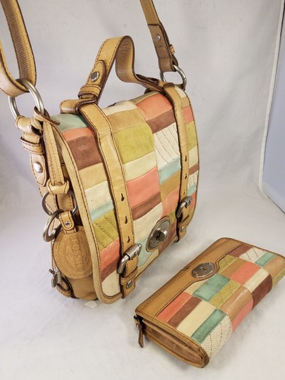 Fossil Maddox Reissued Purse And Clutch Matching Set Satchel in Light Gold/beige Image 4