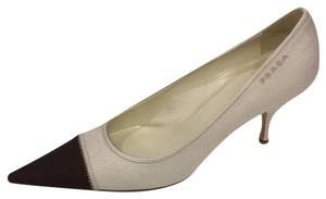 Prada Cream Brown Pumps