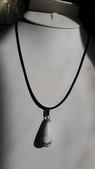 Fashion Jewelry For Everyone White Howlite Teardrop with Leather Cord Pendant Necklace Image 5