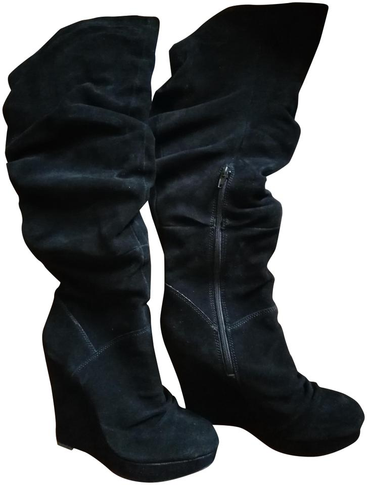 14114f8a067 Steve Madden Over The Knee Round Toe Wedge Suede Platform black Boots Image  0 ...