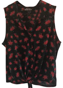 Self Esteem Top black with red roses and green leaves