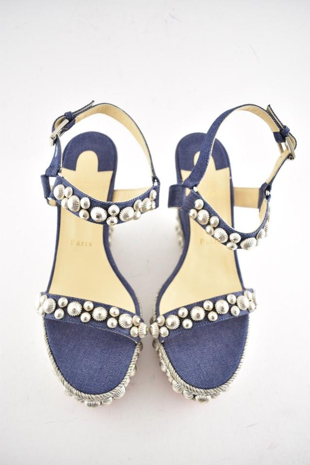 93a48808b49 Christian Louboutin Pigalle Stiletto Classic Galeria Studded blue Wedges  Image 11. 123456789101112