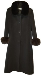 Forecaster of Boston Fox Cuffs And Collar Wool Long Fur Coat