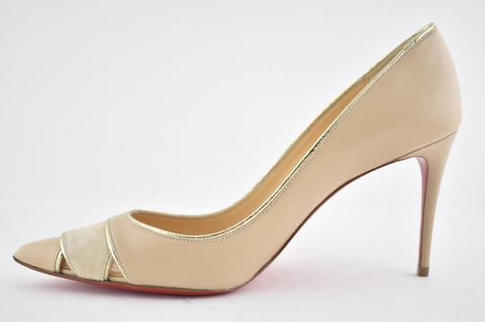 reputable site ee5d3 524f0 Christian Louboutin Nude Biblio 85 Nu Beige Nappa Leather Suede Patent  Classic Heel Pumps Size EU 40.5 (Approx. US 10.5) Regular (M, B)