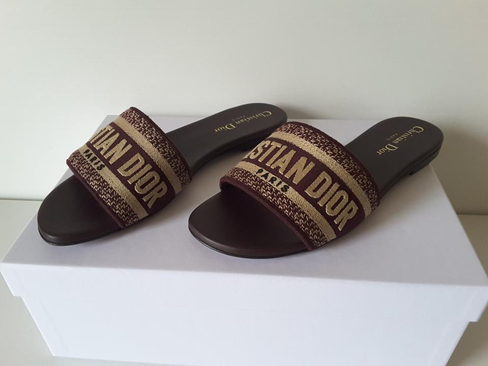 804c05139 Dior Deep Amaran Dway Cotton with Christian Embroidery Mules Slides ...