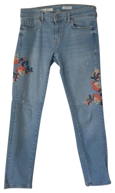 Item - Blue Light Wash Embroidered Straight Leg Jeans Size 4 (S, 27)
