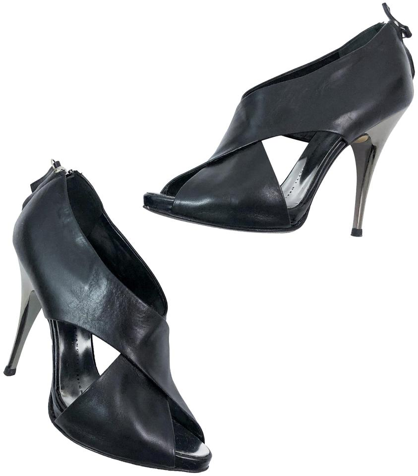 6b0932f9fca Giuseppe Zanotti Black Leather Open Toe Ankle Booties Pumps Size EU 37.5  (Approx. US 7.5) Regular (M