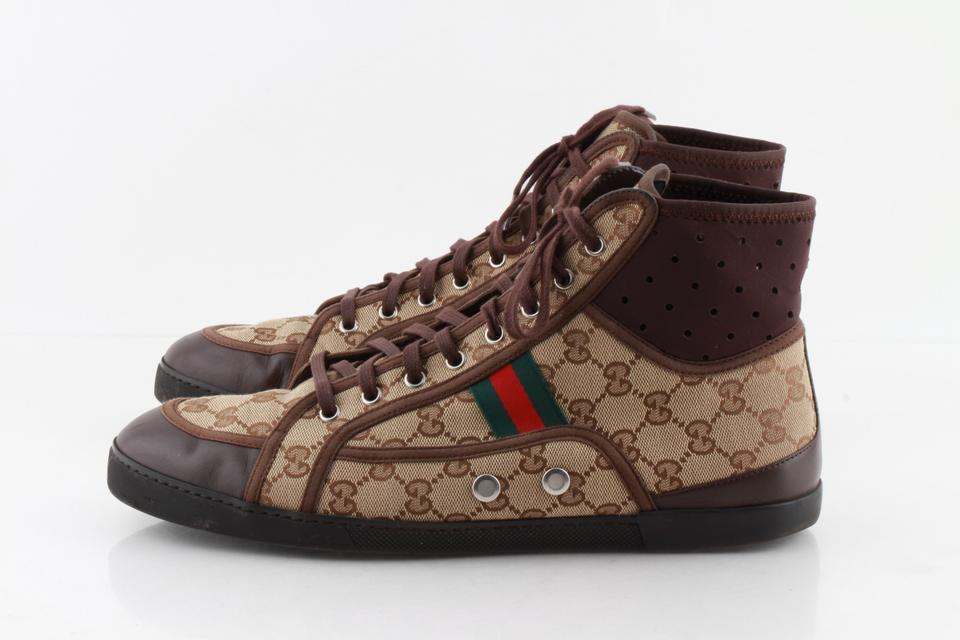 1892493187f Gucci Brown Gg Guccissima Web Stripe High Top Sneakers Shoes Image 11.  123456789101112