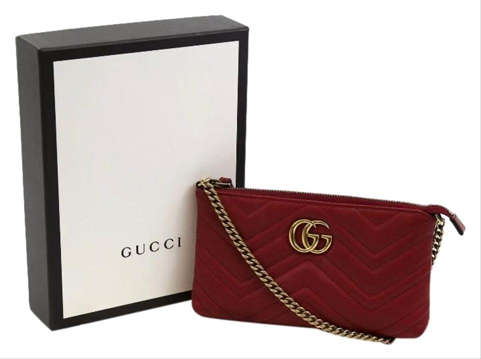 3328cb0bf50f Gucci Marmont Gg Mini Chain Pouch Red Calfskin Leather Cross Body Bag