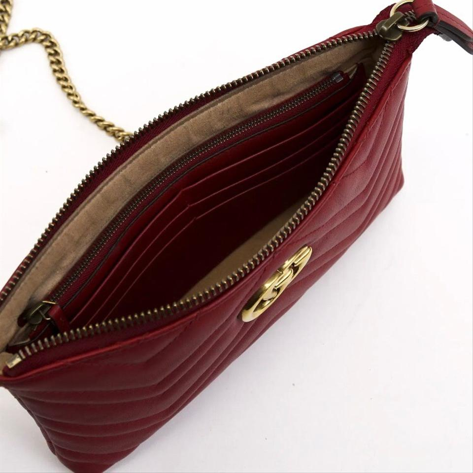 7f36b1bff6c3 Gucci Marmont Gg Mini Chain Pouch Red Calfskin Leather Cross Body ...