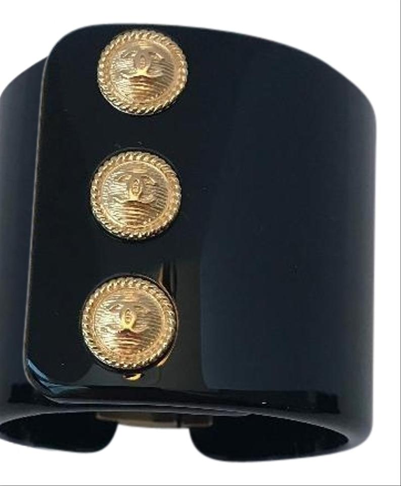 994f8050044 Chanel Black and Gold 18a Navy Button Resin Cuff Bracelet - Tradesy