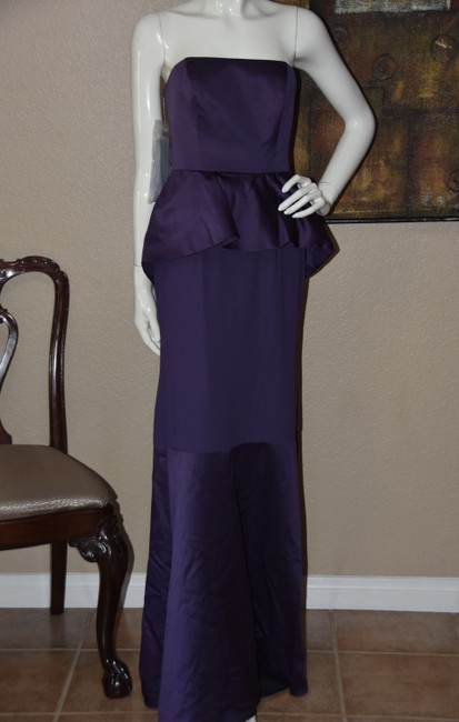 Item - Amethyst Polyester White By Satin Matte Crepe Peplum Formal Bridesmaid/Mob Dress Size 6 (S)