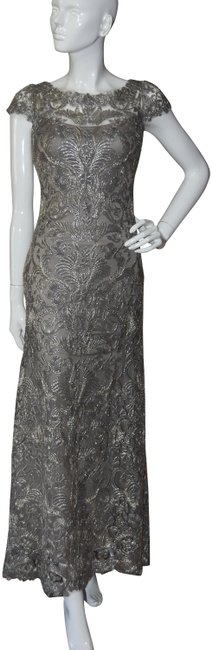 Item - Gray Haute Couture Cocktail Corded Embroidery 4p Long Formal Dress Size Petite 4 (S)