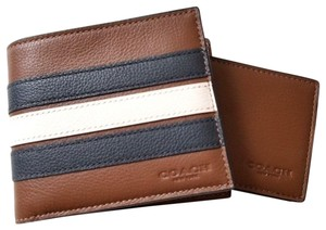 Coach NEW COACH men's Striped Leather wallet with ID case holder case Gift