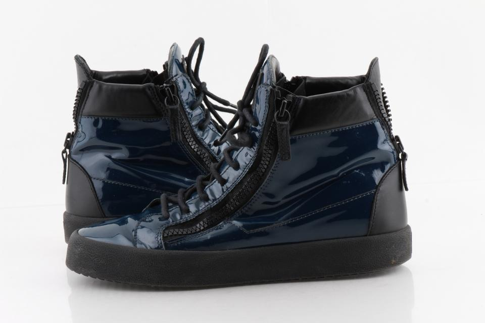4f4d90b140885 Giuseppe Zanotti Blue London Patent Leather and Black High Tops Shoes Image  0 ...