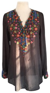 Johnny Was Embroidered Lightweight Longsleeve Buttoned Tunic