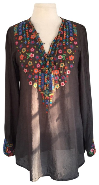 Item - Charcoal L Embroidered Floral L/S Tunic Size 6 (S)