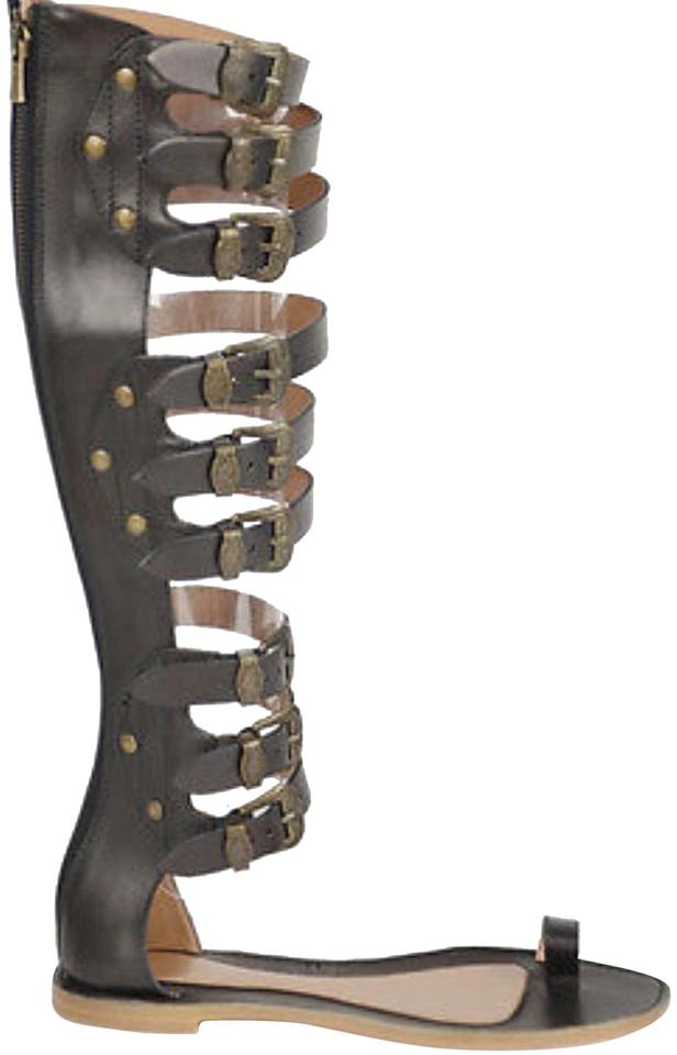 46c41fb44bb50 Sigerson Morrison Brown Knee High Leather Gladiator Sandals Size US ...