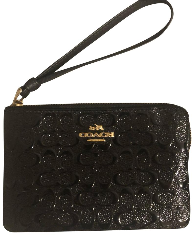 f99327de6c2 Coach Embossed Black Patent Leather Wristlet - Tradesy
