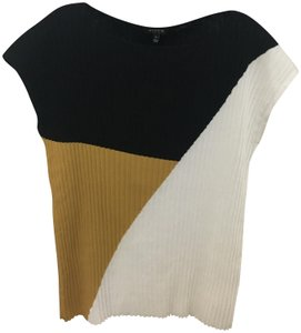 Lafayette 148 New York Plisse Colorblock Black White and Yellow Sweater