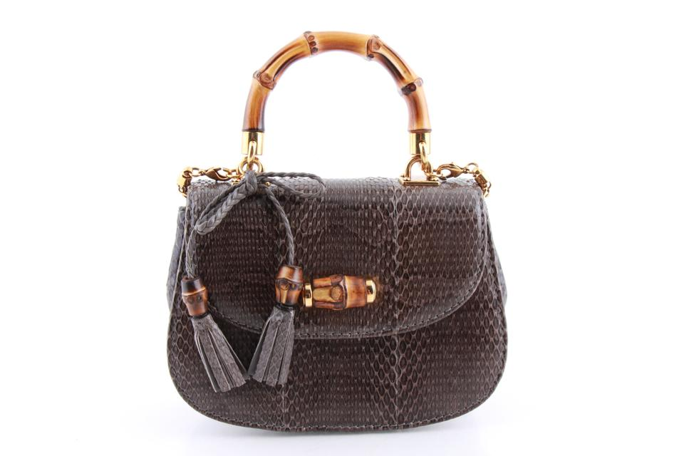 7c1683407e0f Gucci Bamboo Night Small Handbag Multi Color Python Skin Leather ...