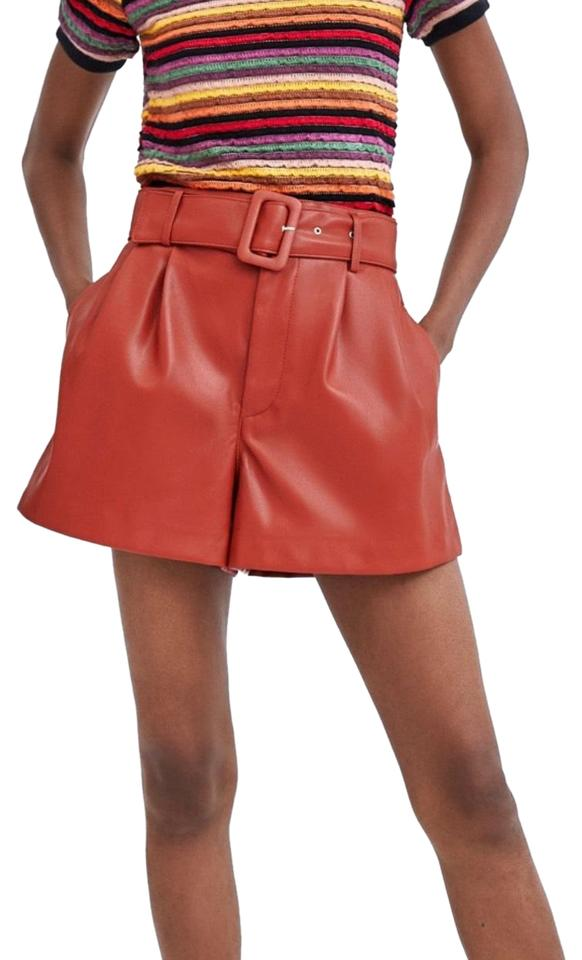 de8d668748 Zara Clay Blogger Fav Belted Faux Leather Shorts Size 8 (M