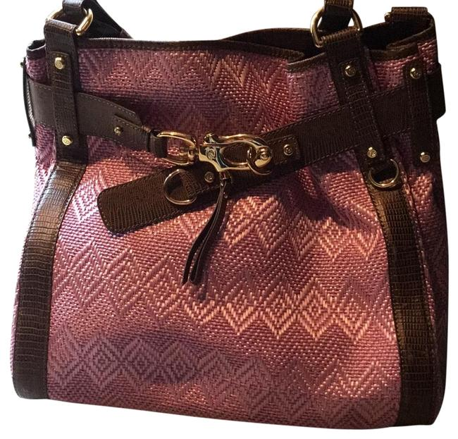 Item - Pink W/ Brown Leather Straw/ Shoulder Bag