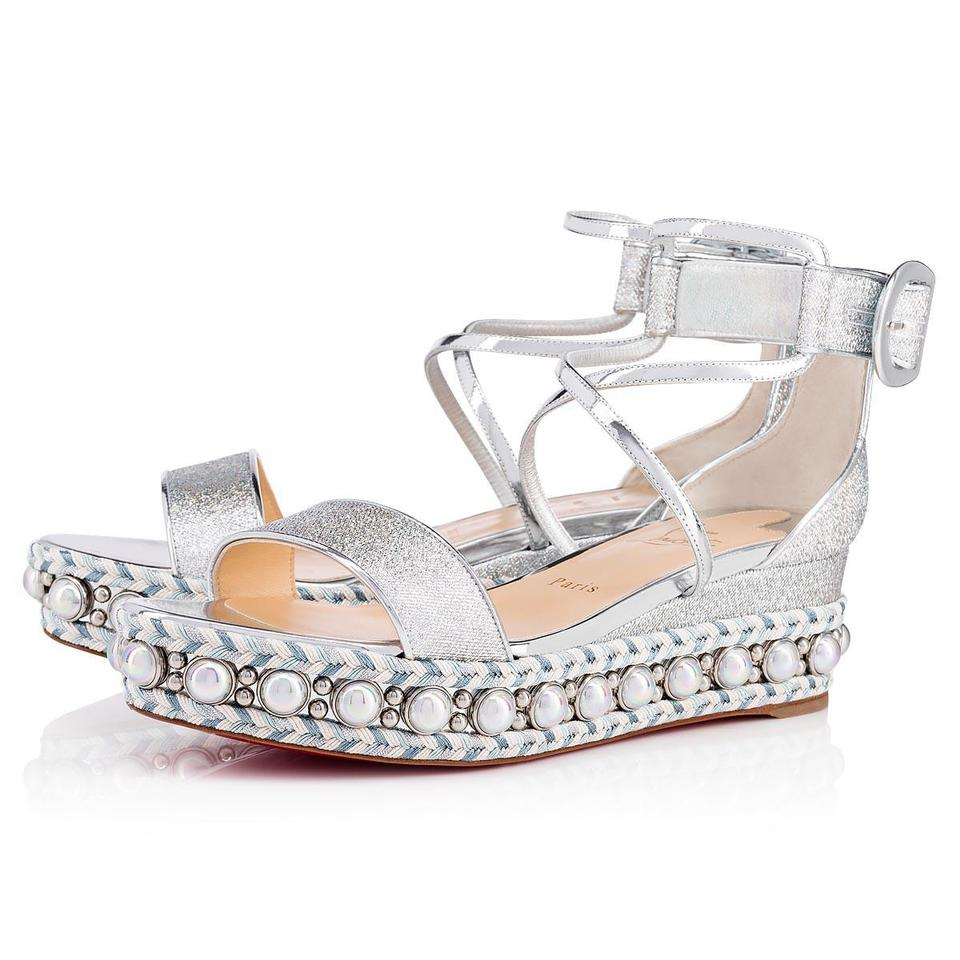 c5e0207ec79d Christian Louboutin Pigalle Stiletto Classic Galeria Studded silver Wedges  ...