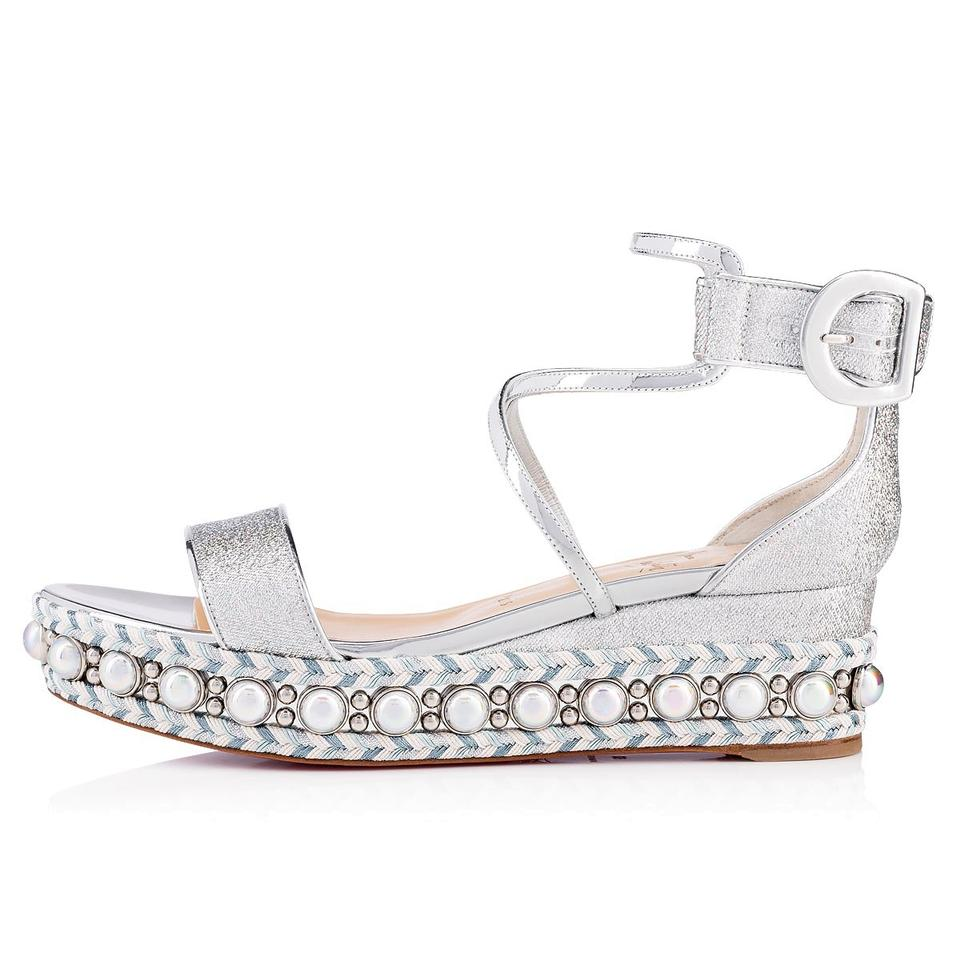 89451a083be Christian Louboutin Pigalle Stiletto Classic Galeria Studded silver Wedges  Image 0 ...