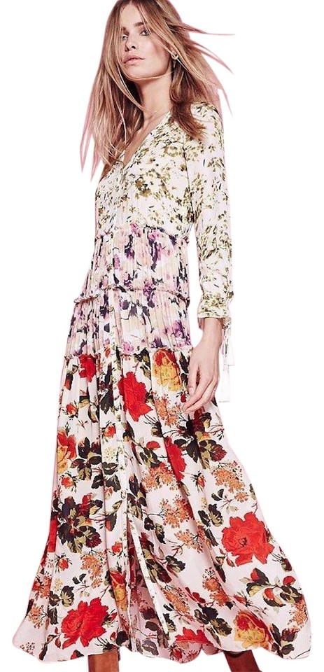 9b173fe14609 Free People Multicolor Red Pink Mixed Floral Long Casual Maxi Dress ...