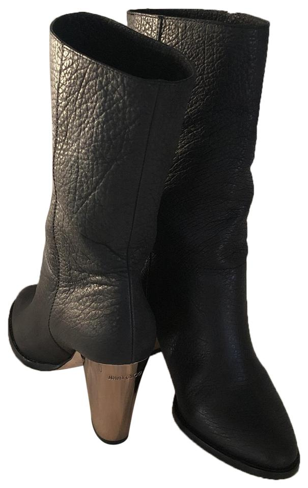 ee21a87df58e Jimmy Choo Black Metal Ankle Leather Boots Booties Size US 8.5 ...