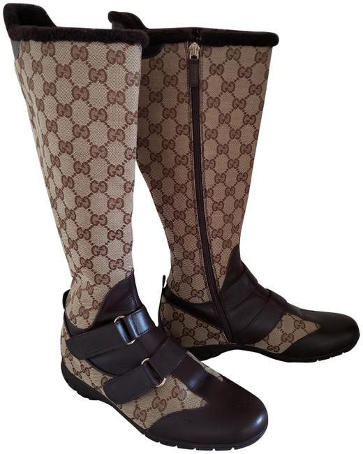 Item - Brown Beige Leather Gg Web Canvas Round-toe Knee-high Boots/Booties Size EU 35.5 (Approx. US 5.5) Wide (C, D)