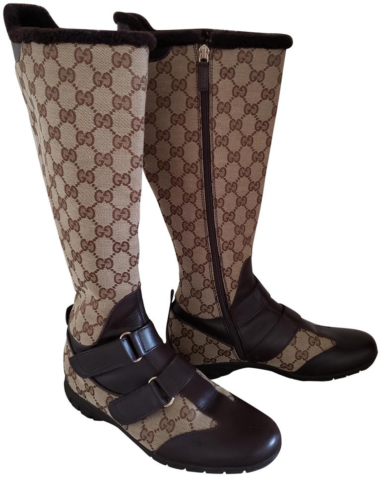 b6d0655118 Gucci Knee High Gg Guccissima Gold Hardware Monogram Brown Boots Image 0 ...