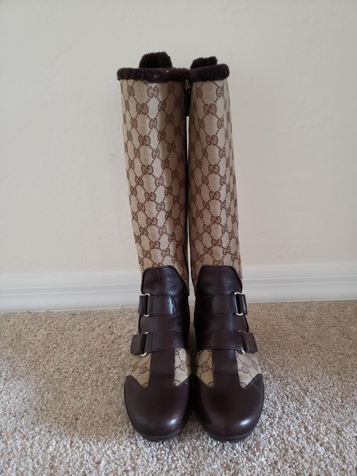 a43595f4ae Gucci Brown Beige Leather Gg Web Canvas Round-toe Knee-high Boots ...
