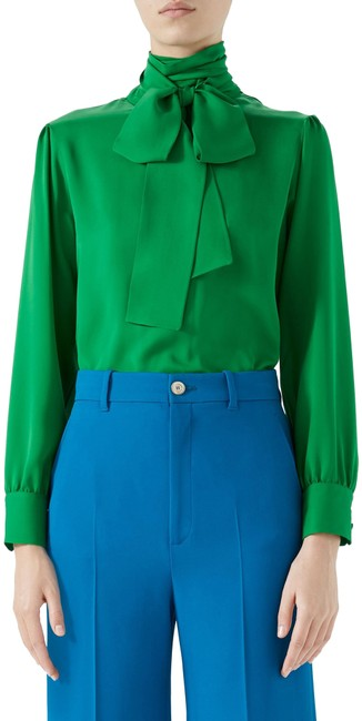 Gucci Green New Tie-neck Silk Blouse Size 2 (XS) Gucci Green New Tie-neck Silk Blouse Size 2 (XS) Image 1