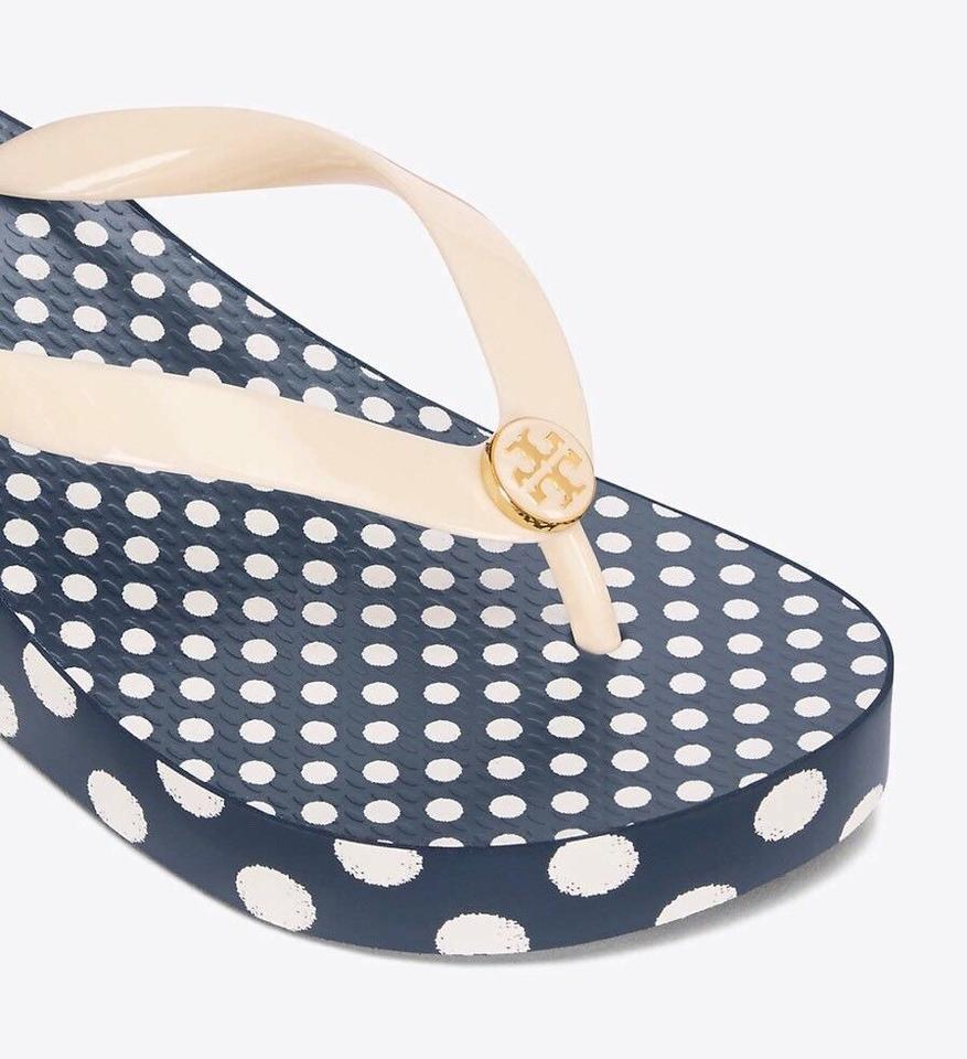 67e0f1ed0369 Tory Burch Ivory Micro Dot Wedge Flip Flops Sandals Size US 8 ...