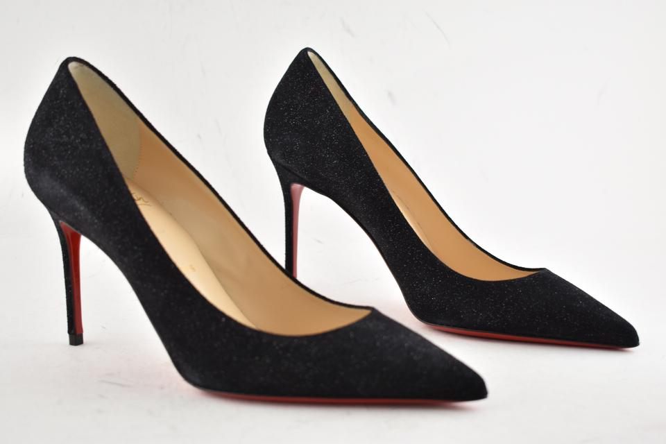 9757a9cdccbd Christian Louboutin Black Decollete 554 85 Crosta Star Glitter Suede  Stiletto Classic Heel Pumps