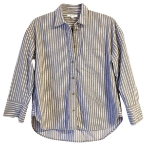 Madewell Button Down Shirt Gray/Ivory