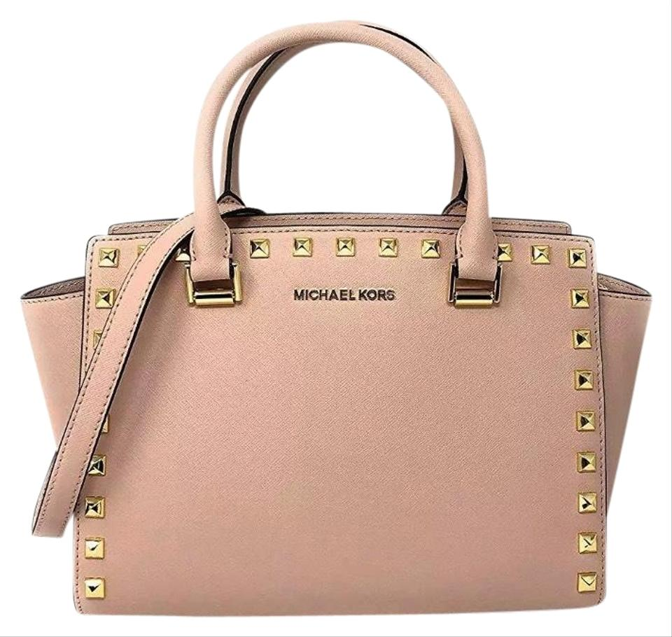 ab3486c38dd5 Michael Kors Selma Stud Medium Top Zip In Ballet Leather Satchel ...