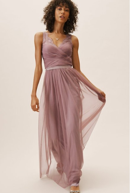 Item - Violet Grey Lace Tulle Fleur Hitherto For Feminine Bridesmaid/Mob Dress Size 4 (S)