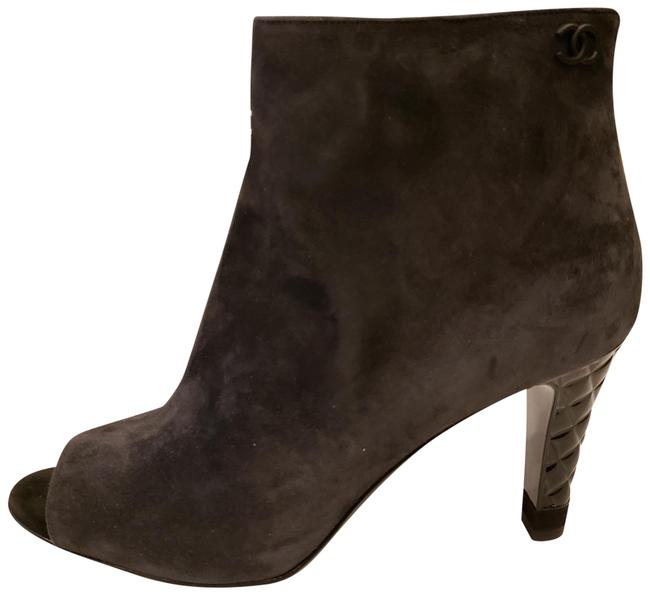 Item - Dark Grey 18b Suede Open Toe Quilted Patent Heel Ankle Boots/Booties Size EU 38 (Approx. US 8) Regular (M, B)