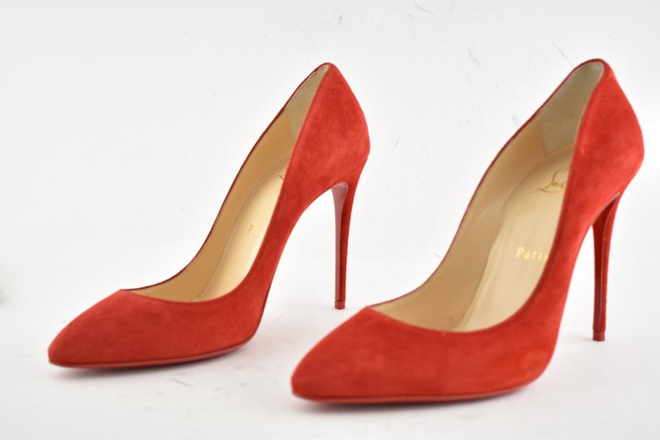 exquisite style official site many fashionable Christian Louboutin Red Eloise 100 Loubi Suede Veau Velours Classic  Stiletto Heel Pumps Size EU 38 (Approx. US 8) Regular (M, B)