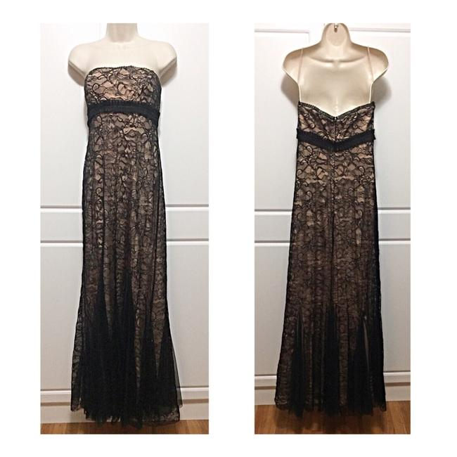 Item - Black & Nude Lace Overlay Long Formal Dress Size 6 (S)
