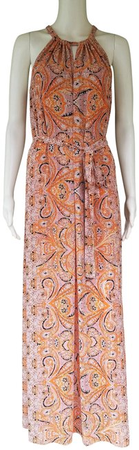 Item - Orange XS W Bcbg Max Azria Mia Ambrosia Print W/Belt Long Casual Maxi Dress Size 2 (XS)